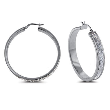 Sterling Silver Glitter Hoop Earrings