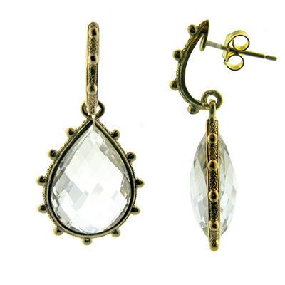 Crystal Quartz Teardrop Earrings in 14K Yellow Gold