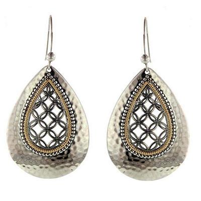 Sterling Silver & 14K Teardrop Earring