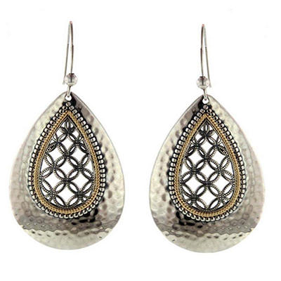 Sterling Silver & 14K Teardrop Earring