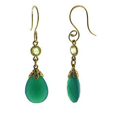 Green Quartz and Onyx 14K Gold Earrings