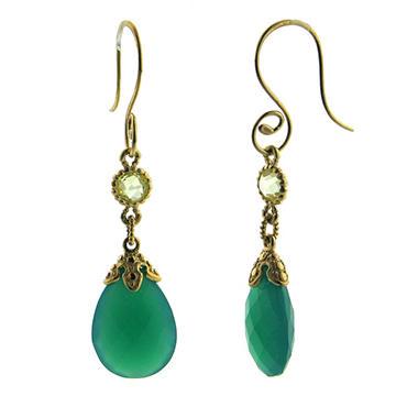 Green Quartz and Onyx 14K Gold Earrings