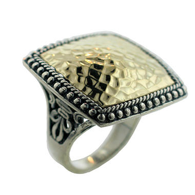 Sterling Silver and 14K Yellow Gold Large Hammered Ring