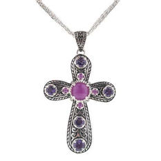 Amethyst & Purple Jade Cross Pendant in Sterling Silver