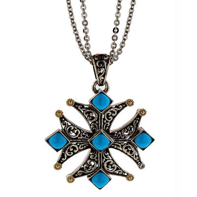 Sterling Silver and 14K Turquoise Cross