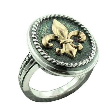 sterling silver 14k gold fleur de lis ring sam s club