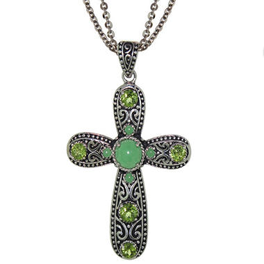 Sterling Silver Green Jade and Peridot Cross
