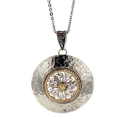Sterling Silver & 14K Gold Round Hammered Pendant