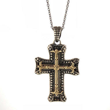 Sterling Silver & 14K Gold Cross