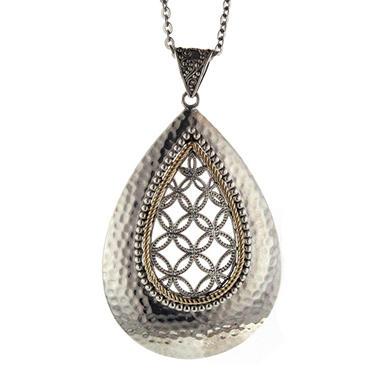 Sterling Silver & 14K Gold Teardrop Pendant