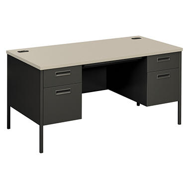 HON - Metro Classic Double Pedestal Desk - Gray Patterned/Charcoal
