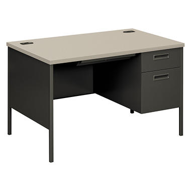 HON - Metro Classic Right Pedestal Desk - Gray Patterned/Charcoal