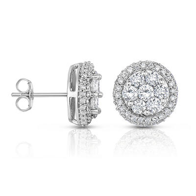 1.95 CT. TW. Round Diamond Stud Earrings in 14K White Gold
