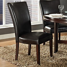 Harding Leather Parsons Chair - Dark Brown - 2pk.