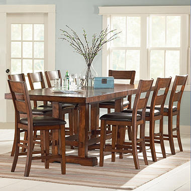 Ziva counter height dining 9 piece set sam 39 s club for 9 piece dining room set counter height
