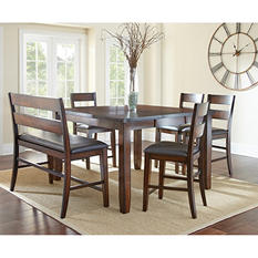 Wescott Counter-Height Table, Bench and Chairs 6-Piece Dining Set