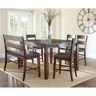 Wescott Counter Height Table Bench And Chairs 6 Piece Dining Set Sam 39 S