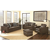 Ravello Full-Grain Leather Sofa, Loveseat, Chair and Ottoman Set