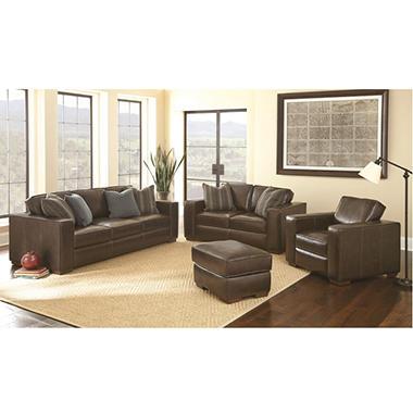 Ravello Full Grain Leather Sofa Loveseat Chair And