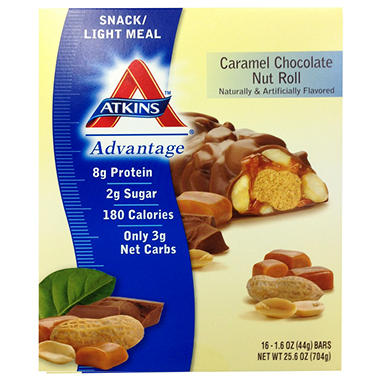 Atkins Snack/Light Meal - Caramel Chocolate Nut Roll - 16 ct.