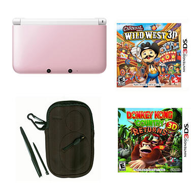 3DS XL Pink/White with Donkey Kong & Carnival Games