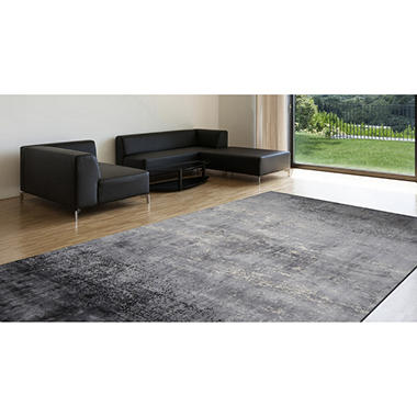 Handcrafted 6' x 9' Area Rug, Black Ivory