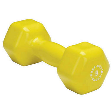 Body Solid Tools BSTVD9 9 lb Vinyl Yellow Dumbbell