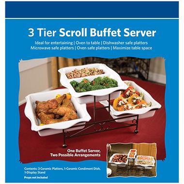 3 tier scroll buffet server   sam s club