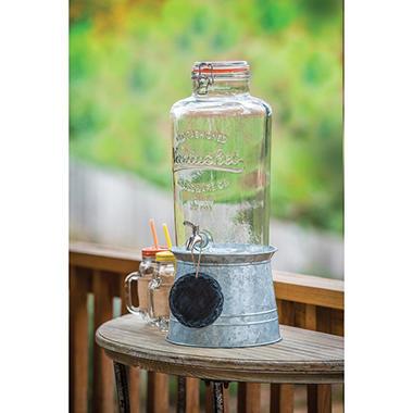 Mason Jar Beverage Dispenser with Galvanized Stand