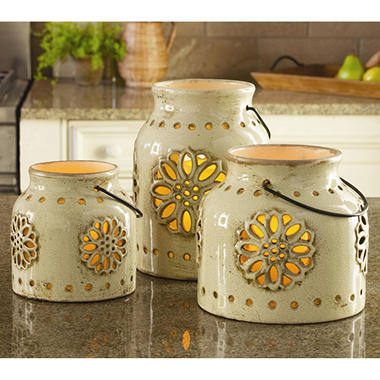 3 Indoor/Outdoor Stoneware Vintage Lanterns with Flameless Candles - Various Colors