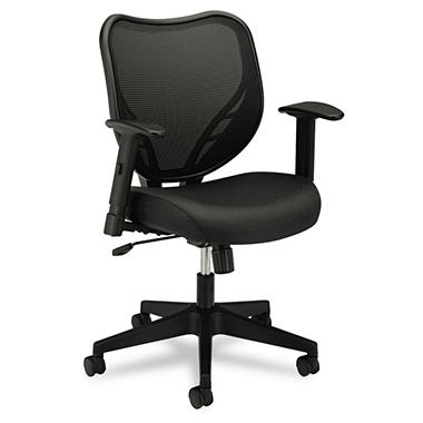 basyx by HON - VL551 Mid- Back Swivel/Tilt Chair, Fabric Seat, Mesh Back - Black
