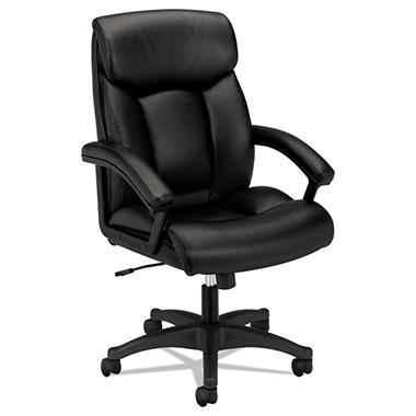 basyx by HON - VL151 Executive High-Back Chair, Black Leather