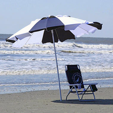 8' Beach Umbrella - Navy & White Stripe