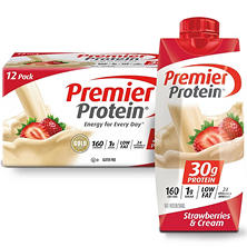 Premier Protein High Protein Shake, Strawberry Cream (11 fl. oz., 12 pack)