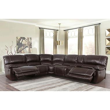 Maril reclining 3 piece sectional sofa sam39s club for 3 piece sectional sofa with recliner