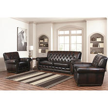 Emily Leather Sofa and Chairs, 3-Piece Set