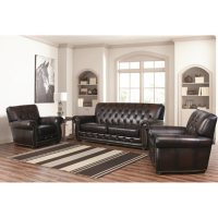 3-Piece Emily Leather Sofa and Chairs Set