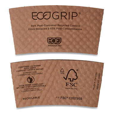 EcoGrip Biodegradable Hot Cup Sleeve - 1,300 Sleeves