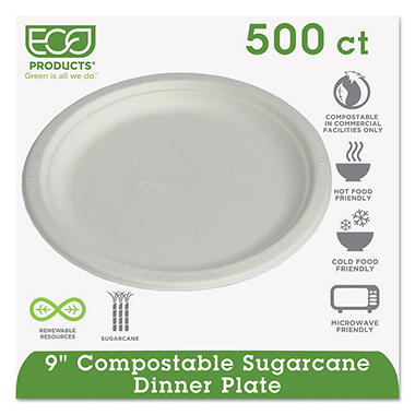 "Eco-Products Compostable Dinner Plate - 9"" - 500 ct."