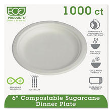 "Eco-Products Compostable Plate, 6"" (1,000 ct.)"