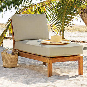 Teak Sectional Lounger with Cushion
