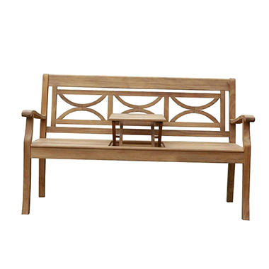 Teak Bench with Tray