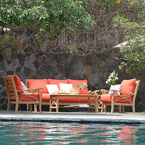 5-Piece Teak Sofa Set, Choice of Cushion Color