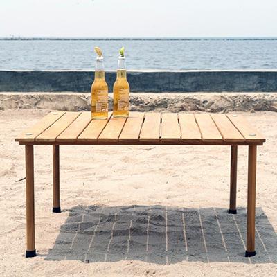 Teak Roll-Up Table