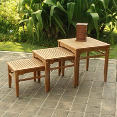 Madison Collection 3-Piece Teak Nesting Table Set