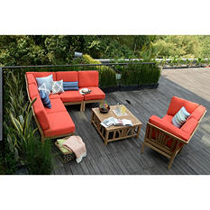 Teak Sectional Sofa Set 8 pc. in Choice of Cushion Color