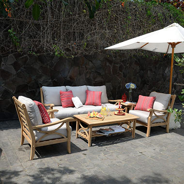Teak Sofa Set 5 pc. with Choice of Cushion Color