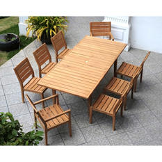 Madison  Collection Extendable Teak Wood 9-Piece Dining Set