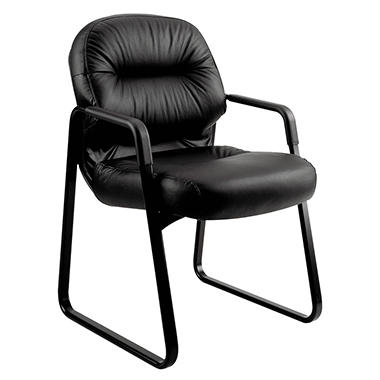 HON - Leather 2090 Pillow-Soft Series Guest Arm Chair - Black