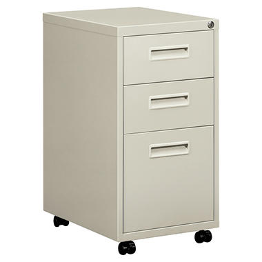 "basyx by HON - Embark Series Mobile Box/File Pedestal w/""M"" Pull Drawers, Letter, 15""W - Light Gray"